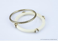 Ethnic White Bangle Set