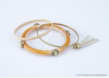 Peach Tassel Bangle Set